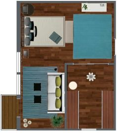 A floor plan for a bedroom suite with decor from Pier 1 Imports & IKEA USA. What time will you wake up in the AM?  Design your dream bedroom suite with RoomSketcher! http://www.roomsketcher.com/homedesigner/   #bedroom #floorplan #decor