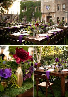 A strange conglomeration of style in this red and purple Steampunk-Medieval wedding. There are some great decorating ideas.