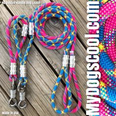 Heavy Duty Climbing Rope Dog Leash with Double Handle and HD Stainless Steel Swivel Clip. Handmade in USA For Extra Large Dogs. Big Dogs, Large Dogs, Rope Dog Leash, Climbing Rope, Handle, Stainless Steel, Usa, Style, Rock Climbing Rope