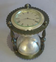 Rare Antique Glassware | Antique and rare desk clock in the form of an hour glass in patinated ...