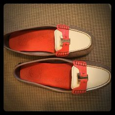 Tory Burch Loafers Tory Burch Loafers 100% authentic and 100% leather supper soft. Color beige, orange and grey with gold T. Slightly worn excellent condition. Tory Burch Shoes Flats & Loafers