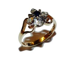 Fully Hallmarked 9ct Yellow Gold, Sapphire & Diamond Cluster Ring (UK Size: N)