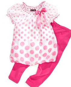 Tempted Kids Set, Little Girl Dotted Bubble Top and Leggings - Kids Sets - Macy's