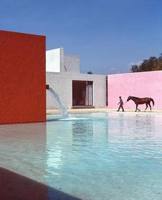 San Cristobal Stable, Horse Pool and House, Planned by Luis Barragán, Mexico City, 1976 🌺  Tap the link in bio to watch In Residence… Architecture Artists, Spanish Architecture, Retro Interior Design, Horse Stables, Vintage Swim, Life Photo, Beautiful Buildings, Mexico City, Dog Walking