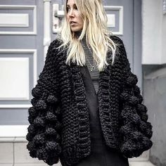 """Universe of goods - Buy """"Cashmere Sweater Women Winter 2019 Black Ladies Cardigan Hand Knitted Cardigan Women Long Sleeve Thick Warm Cardigan Female Tops"""" for only USD. Cardigan Sweaters For Women, Sweater Coats, Cardigans For Women, Coats For Women, Chunky Sweaters, Women's Coats, Ugly Sweater, Cardigan En Maille, Knit Cardigan"""