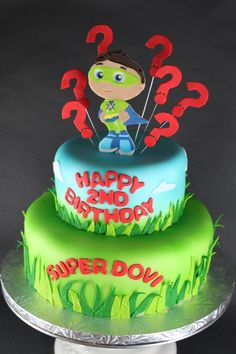 Super Why Cake 2 Tier Birthday Based On The Pbs Show cakepins.com