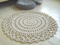 Crochet Rope Giant Doily Rug Cotton by KnitJoys on Etsy Crochet Doily Rug, Crochet Placemats, Crochet Rope, Crochet Patterns, Rope Rug, Sheepskin Rug, Quilted Table Runners, Arm Knitting, Cotton Rope