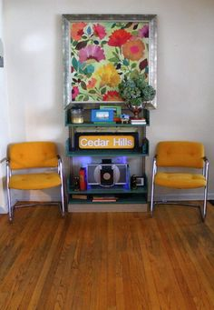 Retro Chrome Chairs and Vintage library shelving eclectic living room
