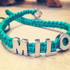 I'm making dog collars and leashes, this is Milo's new one!- I'm making dog collars and leashes, this is Milo's new one! I'm making dog collars and leashes, this is Milo's new one! Dog Collar With Name, Diy Dog Collar, Dog Shock Collar, Collar And Leash, Dog Collars & Leashes, Dog Leash, Dog Harness, Embroidered Dog Collars, Designer Dog Collars