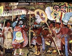 The Culture of Totonaken, detail of Totonac nobility trading with Aztec merchants 1950, Diego Rivera