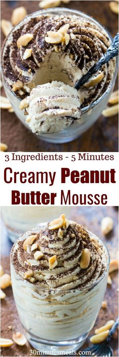 Creamy Peanut Butter Mousse is made with just 3 ingredients in less than 5 minutes. Perfect to fix a quick peanut butter craving! #peanutbutter #mousse