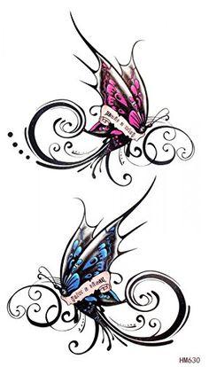"""étanche à l'eau et non la dimension de produit toxique 6,69 papillons """"de x3.74″ amant faux tatouages temporaires pour les hommes et les fem..."""