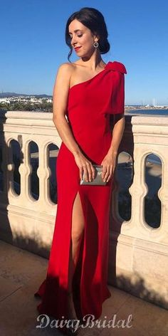 Red One Shoulder Mermaid Simple Jersey Slit Long Prom Dresses Simple Dress Casual, Simple Dresses, Elegant Dresses, Sexy Dresses, Casual Dresses, Formal Dresses, Sweater Dresses, Dresses Dresses, Long Dresses
