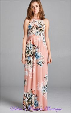 Bellamie Floral Racer Back Maxi Dress - Dusty Pink