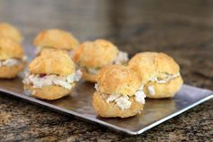 A tasty chicken salad fills these bite-size choux pastry sandwiches. The puffs (gougeres) are made with either Gruyere or havarti cheese, and the chicken salad is flavored with a bit of lemon juice and optional curry powder. Pasta Choux, Choux Pastry, Shortcrust Pastry, Shower Appetizers, Havarti Cheese, Puff Recipe, Dried Beans, Greens Recipe, How To Make Salad