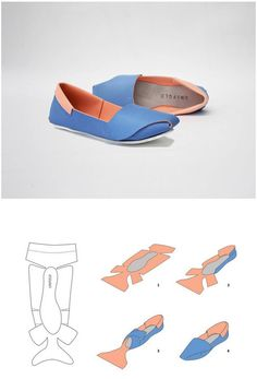 DIY Shoes - could i do this with fabric to make slippers or shoes?UNiFOLD shoes by Horatio Yuxin HanTutorial DIY craft easy simple clever idea…I would like to design and make my own shoes for my final fashion artifact for…DIY Shoes - Neat idea, b Up Shoes, Doll Shoes, Funky Shoes, Paper Shoes, Diy Accessoires, Shoe Pattern, How To Make Shoes, Leather Projects, Leather Working