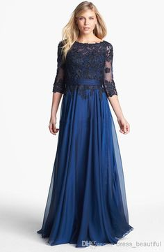 Wholesale Evening Dress - Buy 2014 3/4 Lace Long Sleeves Chiffon Scoop Neckline Bodice Pleated A-line Style Mother of the Bride Dresses Hollow Floor Length Skirt Dress, $86.26 | DHgate