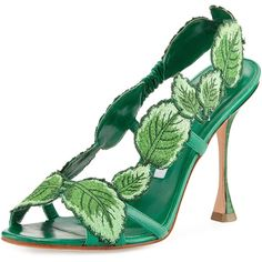 Manolo Blahnik Climatida Leaf Embroidered Sandal ($1,395) ❤ liked on Polyvore featuring shoes, sandals, heels, fairies, green, leather high heel sandals, green heeled shoes, stretch sandals, manolo blahnik sandals and green high heel shoes