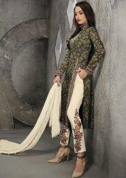 Casual Wear Cotton Grey Printed Churidar Suit