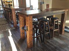 pub table, gas pipe, barn wood, barn beam.
