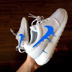 01d4f78f5f7192 Nike Roshe Run One White with Custom Blue Candy Drip Swoosh Paint