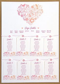 Love Birds Wedding Table Seating Plan A2 by STNstationery on Etsy, £45.00