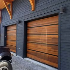Custom Cedar Planks Garage Doors by C. Overhead Doors Custom Cedar Planks Garage Doors by C. Overhead Doors,Home Ideas Beautiful new country modern custom home with a spectacular garage. Planks doors in Accents Woodtones. Best Garage Doors, Modern Garage Doors, Garage Door Decor, Garage Shed, Garage Door Design, Cedar Garage Door, Garage Door Colors, Custom Garage Doors, Home Garage