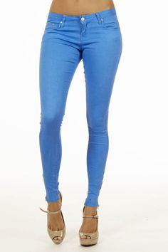 Get comfortable with Blue Neon #Jeans With Ankle Zipper #OOTD #fashion- Fashion Outlet NYC