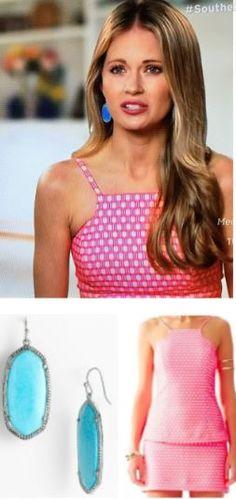 Southern Charm Fashion: Cameran Eubanks' Pink Geometric Print Halter Top & Turquoise Earrings http://www.bigblondehair.com/reality-tv/cameran-eubanks-pink-top-turquoise-earrings/ Lilly Pulitzer & Kendra Scott