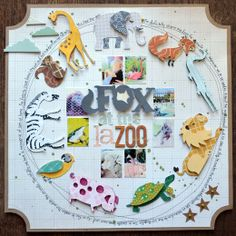 **Cricut: Noah's ABC Animals** Gallery - Projects by PaigeTaylorEvans - Two Peas in a Bucket Christmas Scrapbook Layouts, Scrapbook Page Layouts, Scrapbook Paper Crafts, Scrapbook Supplies, Scrapbook Pages, Scrapbooking Ideas, Paper Crafting, Scrapbook Quotes, Baby Scrapbook