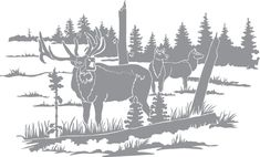 Glass etching stencil of Elk in a Field and Trees. In category: North American Mammals, Trees