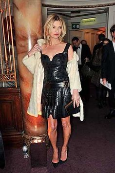 9Kate Moss style alexander mcqueen british fashion awards leather dress