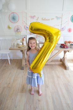 Ariella turns 7 – Unicorn Party, seventh birthday party, birthday girl, seven balloon, gold mylar balloon