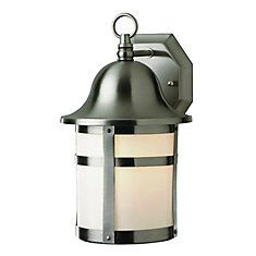1-Light Brushed Nickel Patio Wall Lantern