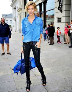 11 cool girl new year's eve outfit ideas - model Anja Rubik in black sequin pants + casual chambray top and peep toe ankle boots