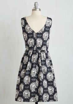 Bone Vivant Dress. You know how to live life with an edgy elegance, which is evident when you zip into this damask A-line with a twist! #black #modcloth