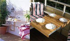 IDEAS PARA PEQUEÑOS BALCONES -  me parecen ideales las mesas y sillas ancladas a la pared, que se pueden plegar cuando no están siendo usadas y así ganar espacio:
