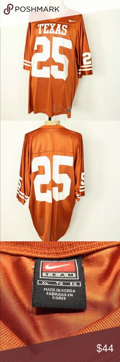 """Texas Longhorns #25 Football Jersey Adult XL Nike Texas Longhorns NCAA #25 Football Jersey Shirt Adult Size XL Authentic Nike  SIZE:  ADULT XL COLOR:  ORANGE Great condition! Body:  100% Nylon Trim:  100% Polyester **SEE MEASUREMENTS BELOW**  APPROXIMATE MEASUREMENTS FLAT ACROSS:  TOP OF BACK COLLAR TO BOTTOM FRONT:  31 1/2""""  ARMPIT TO ARMPIT:  24 1/2""""  SHOULDER SEAM TO CUFF:  12""""  SHOULDER SEAM TO SHOULDER SEAM:  24 1/2"""" Nike Shirts"""