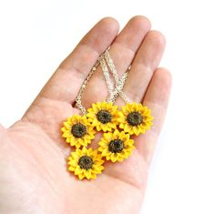 SET of 5 Sunflower NecklaceSunflower by NikushJewelryArt on Etsy