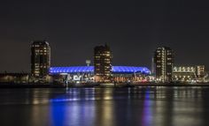 Feyenoord Rotterdam stadium at night