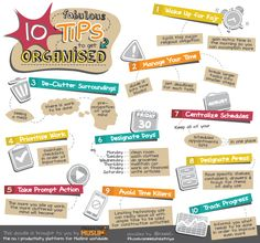 [Doodle of the Month] Ten Fabulous Tips to Get Organised! - Productive Muslim