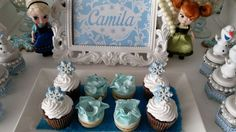 Frozen birthday party cupcakes! See more party ideas at CatchMyParty.com!