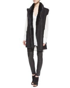 Shearling Fur Tie-Waist Reversible Vest, Women's, Size: LARGE, Black - Vince