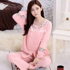 f54410f45087 Pajamas cotton long - sleeved home clothing cardigan Cotton Pyjamas, Pjs,  Pajamas, Yoga