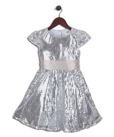 Another great find on #zulily! Silver Sequin Sash Dress - Toddler & Girls by Joe-Ella #zulilyfinds