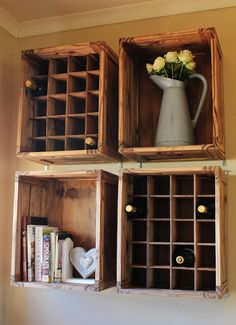 Homemade wine rack is a solution for you that want to save your budget from purchasing the same one at furniture shop. Homemade Wine Rack, Corner Wine Rack, Old Bookshelves, Wine Rack Plans, Make Your Own Wine, Size Chart For Kids, Home Garden Design, Pergola, Beach Cottage Decor