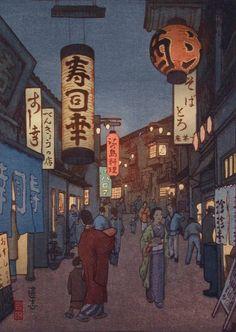 Tokyo at Night: Shinjuku, 1938 - Tōshi Yoshida