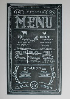 Beautiful custom chalk wedding menu - Design by Laura Jean http://designbylj.wordpress.com/
