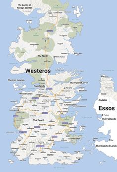 A map of Westeros from A Game Of Thrones in the style of Google Maps.