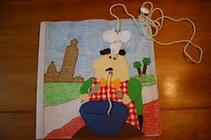 He eats the spaghetti!  Love this!  LOL  (Maybe make the spaghetti come out the back of the page? Where it is a lacing activity?)